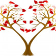 Stock Vector: Two hearts trees
