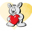 Rabbit with the heart — Stock Vector