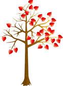 Scarlet hearts tree — Stock Vector