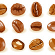 Stock Vector: Coffee beans