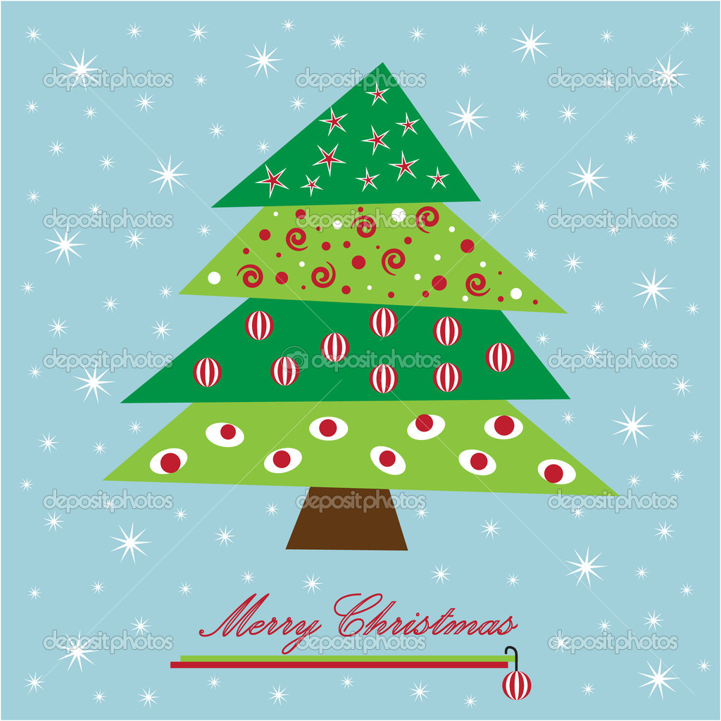 Pretty festive holiday christmas tree  Stock Vector #4121324