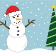 Christmas Tree Snowman — Vector de stock