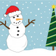 Christmas Tree Snowman — Stockvectorbeeld