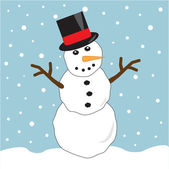 Snowman Wearing Top Hat — Stock Vector