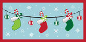 Hanging Christmas Stockings — Stock Vector