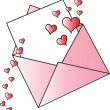Valentine Envelope With Hearts — Stock Vector