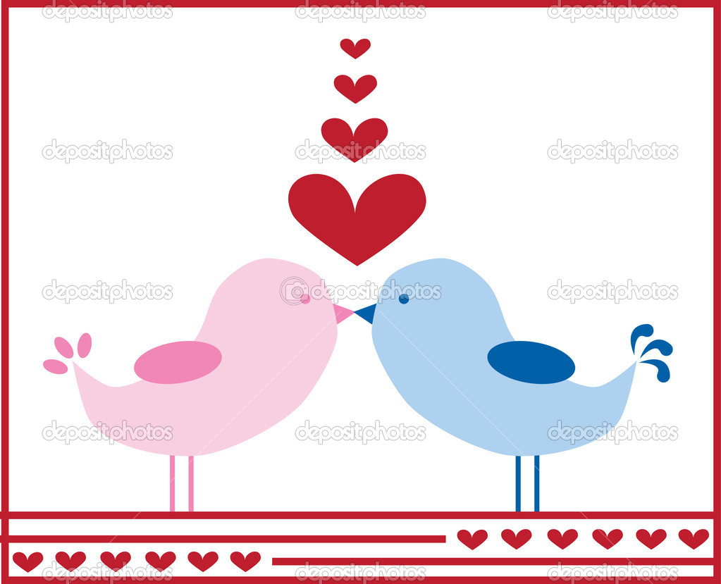 Valentine love birds kissing — Stock Vector #4661164