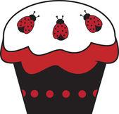 Ladybug Cupcake — Stock Vector