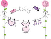 Baby Girl Clothes Line — Stock Vector