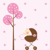 Baby Girl in Stroller — Stock Vector