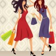Shopping Girls — Vector de stock