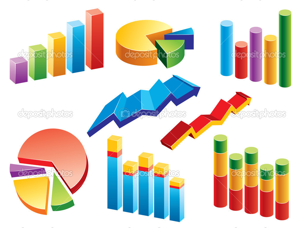 Vector set with various business graphs and charts. — Stock Vector #4078828