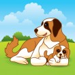 Royalty-Free Stock Vector Image: Puppy with Mother