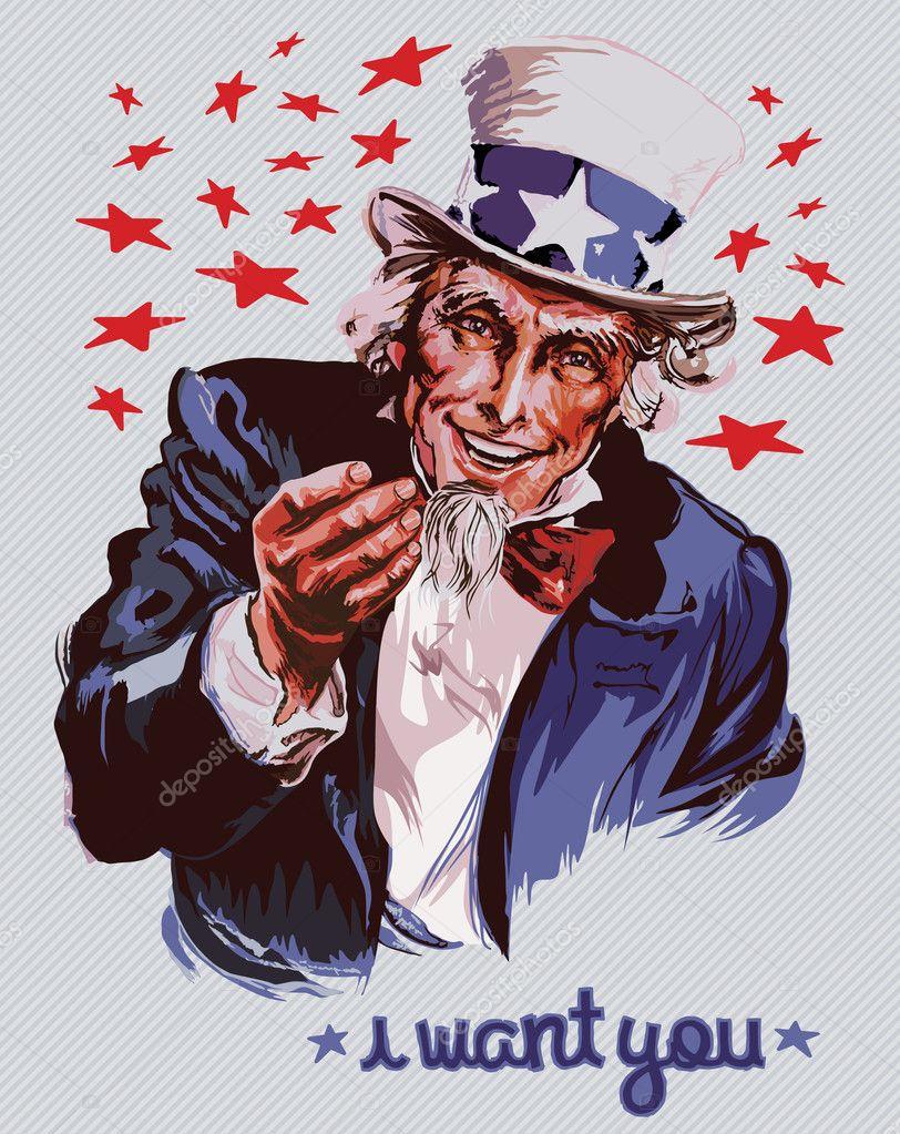 Smiling Uncle Sam — Stock Vector © UltraViolet #4113790