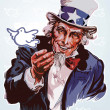 Vector de stock : Peaceful Uncle Sam
