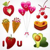 Mat kärlek — Stockvektor