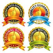 Kwaliteit garantie badges — Stockvector