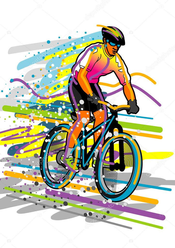 Colorful vector illustration of a cyclist.  Stock Vector #4151109