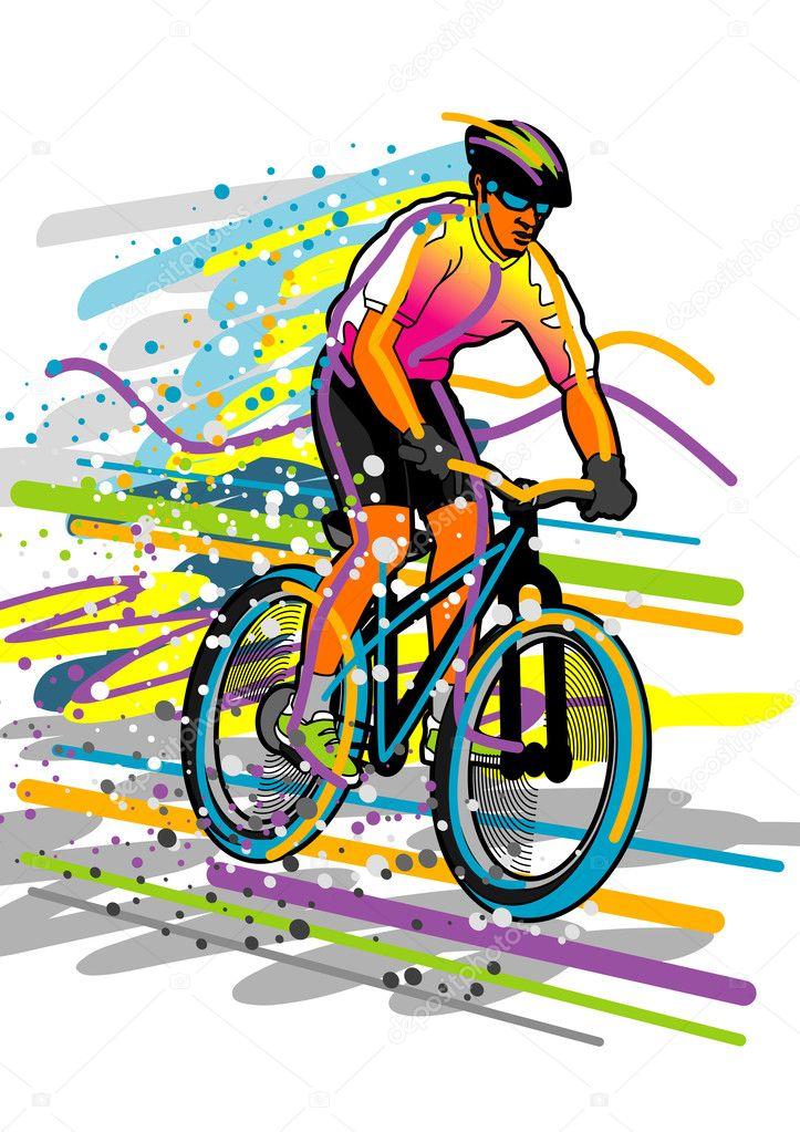 Велосипедист рисуй
