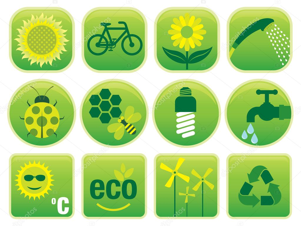 Vector set with environmental friendly icons, isolated on a white background. — Stock Vector #4165033