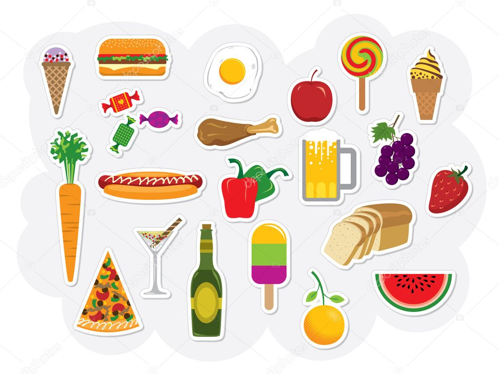 Vector set with different kinds of food and drinks. — Stock Vector #4165384