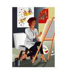 Artist Painter — Stock Vector