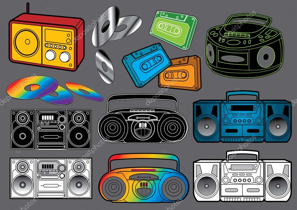 Vector illustration set of different kind of radios and CD players. More music files in my portfolio. — Stock Vector #4189587