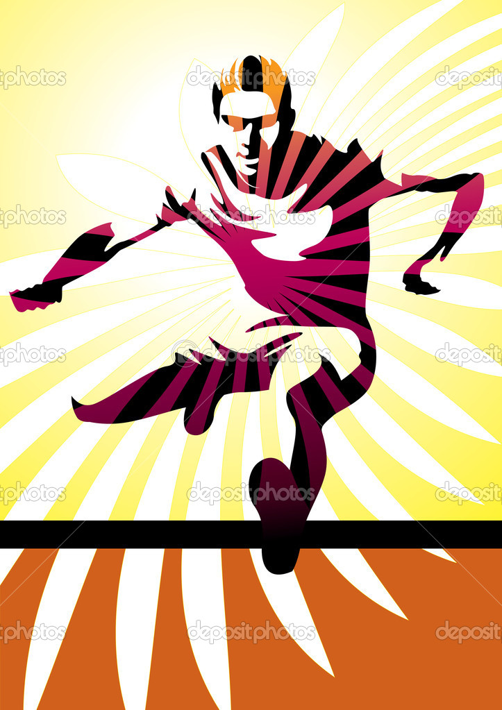 Vector illustration of a male silhouette jumping a hurdle. More sport illustrations in my portfolio. — Векторная иллюстрация #4219676