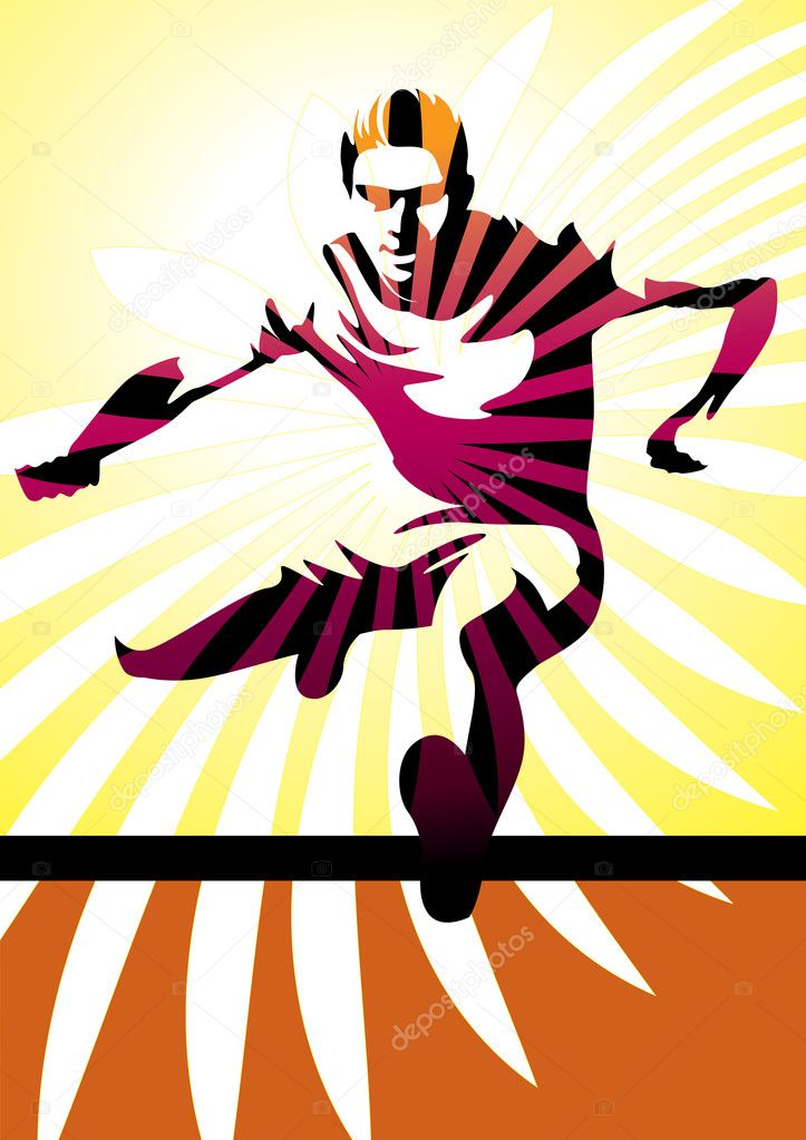 Vector illustration of a male silhouette jumping a hurdle. More sport illustrations in my portfolio. — Stockvectorbeeld #4219676