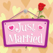 Just Married Sign — Stok Vektör