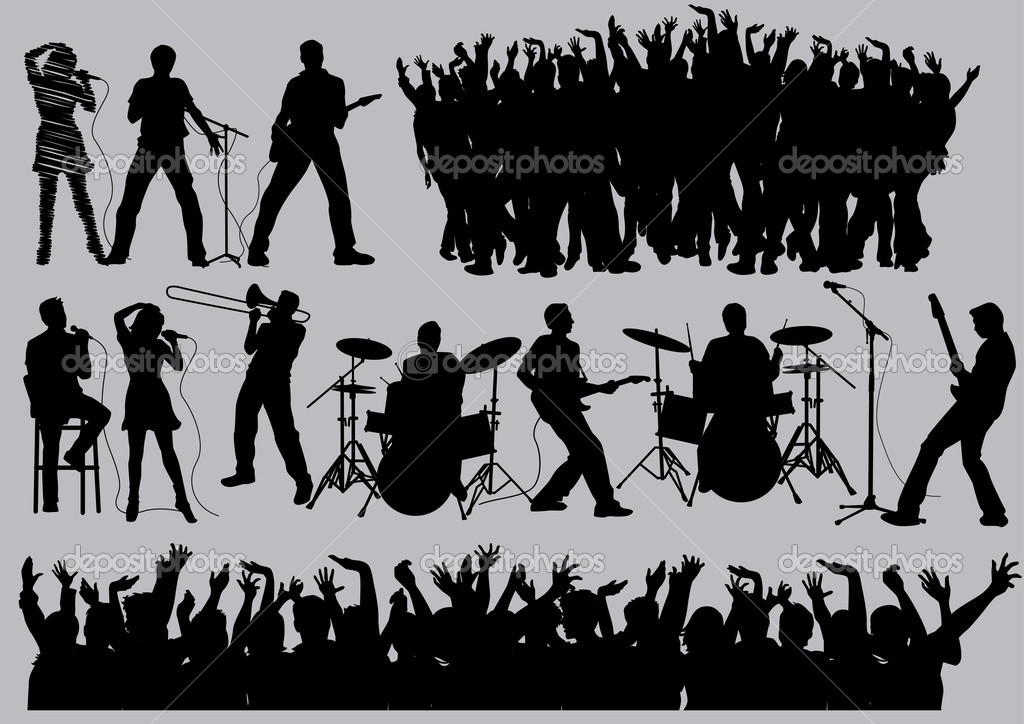 Music silhouettes , image is part of my music collection. — Stock Vector #4776550