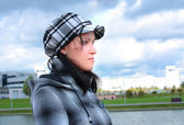 戴着帽子的小女孩 — 图库照片