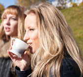 Two girls drinking tea — Stock Photo