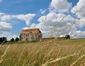 The French landscape with rural church. — Stock Photo