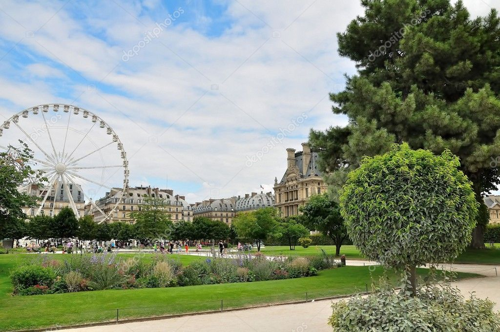 Landscape view of the Jardin du Carousel gardens with the Roue de Paris, France.  Stock Photo #4089642