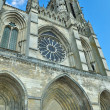 Frontal view of Soissons cathedral - Stock Photo