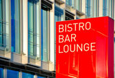 Signboard Bistro Bar Lounge - red background — Stock Photo