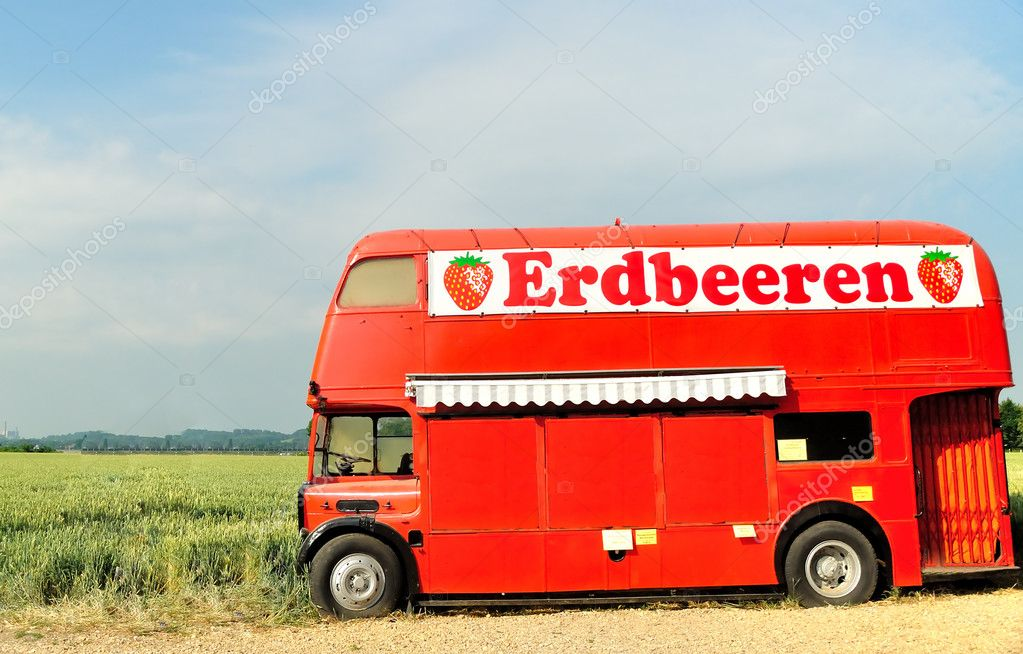 Isolated red autobus on a white background  Stock Photo #4479743