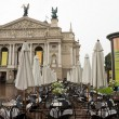 Opera theater and cafe before him. Lviv — Stock Photo