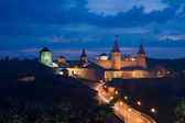 Nightly kind on a famous town old lock. Kamianets-Podilskyi. Ukraine — Stock Photo