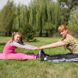 Mother and daughter engage in fitness — Stock Photo #4299174
