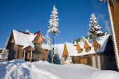 Snow-covered house is in Carpathian Mountains, Ukraine, Dragodra — Stock Photo
