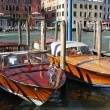 Two new motorboats made fast on Grand Canal, Venice, Italy — Stock Photo #5243758