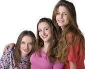 Portrait of three young happy girls — Stock Photo
