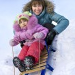 Mother and little daughter sliding in the snow — Stock Photo #4514895