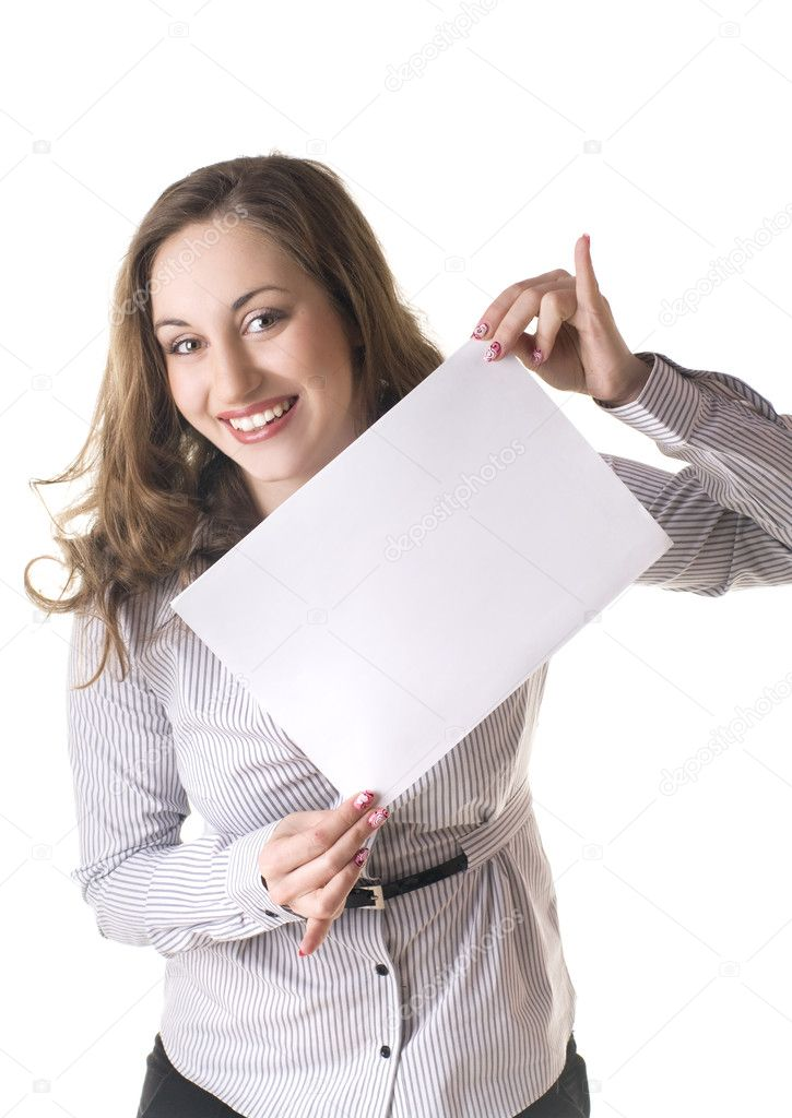 Portrait of a lovely young female holding blank sheet against white background  — Stock Photo #4942523