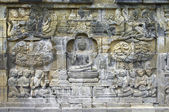 Stone carving in the Borobudur temple — Stock Photo