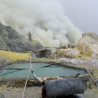 Stock Photo: Extracting sulphur inside KawIjen crater