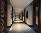 Rendering modern corridor — Stock Photo