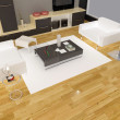 Interior fashionable living-room rendering - Foto de Stock